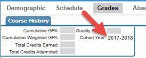 Student Portal Test Score Guide Cohort Year Image